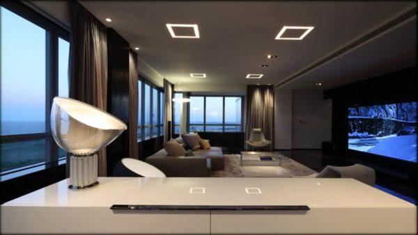 Интерьер комнаты в стиле хай-тек