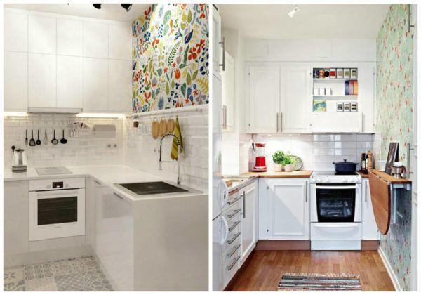 Интерьер маленьких кухонь с яркими обоями