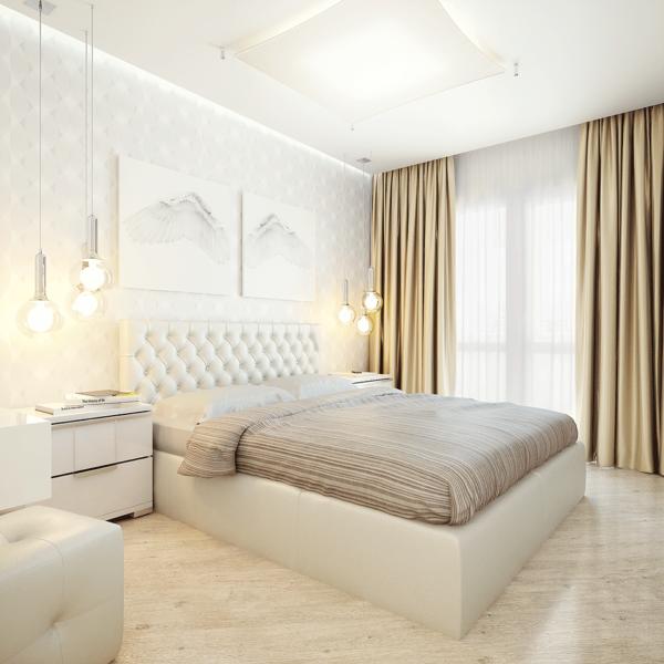 Интерьер спальни с применением нежных светлых оттенков и штор в золотистом цвете