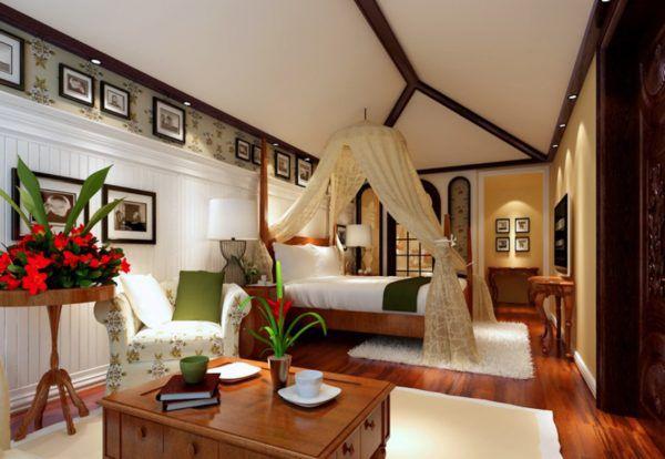 Интерьер спальни с элементами дерева