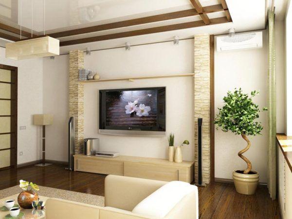 Искусственное дерево бонсай в гостиной японского стиля