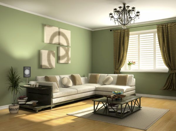 Использование зеленых обоев в формировании интерьера гостиной и спальни
