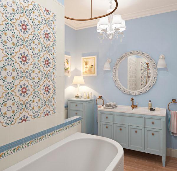 Керамические панно гармонично сочетается с основной цветовой палитрой комнаты