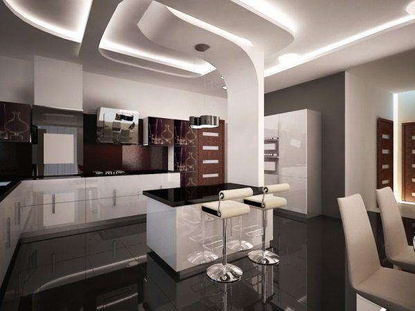 Классический интерьер кухни с отдельными футуристическими деталями