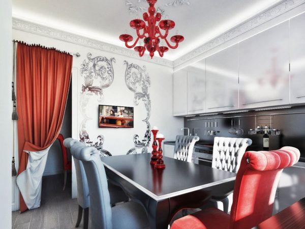 Красивое сочетание светло-серого с ярким акцентом красного цвета в интерьере кухни стиля арт-деко