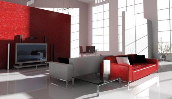 Красная стена с ярким диваном