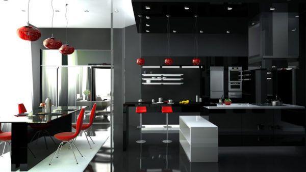 Красные люстры на кухне