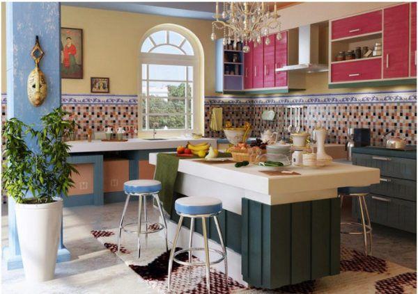 Кухня в средиземноморском стиле с элементами мозаики и штукатурки
