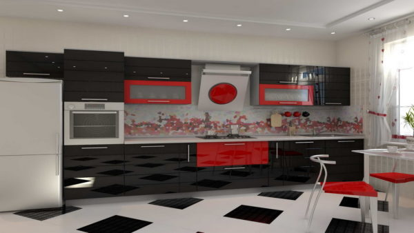 Кухонный гарнитур замаскированный под убранство стен