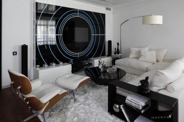 Лаконичные стенки, вписанные в общий мотив гостиной