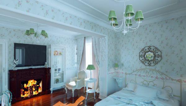 Люстры из однотонного материала в спальной комнате