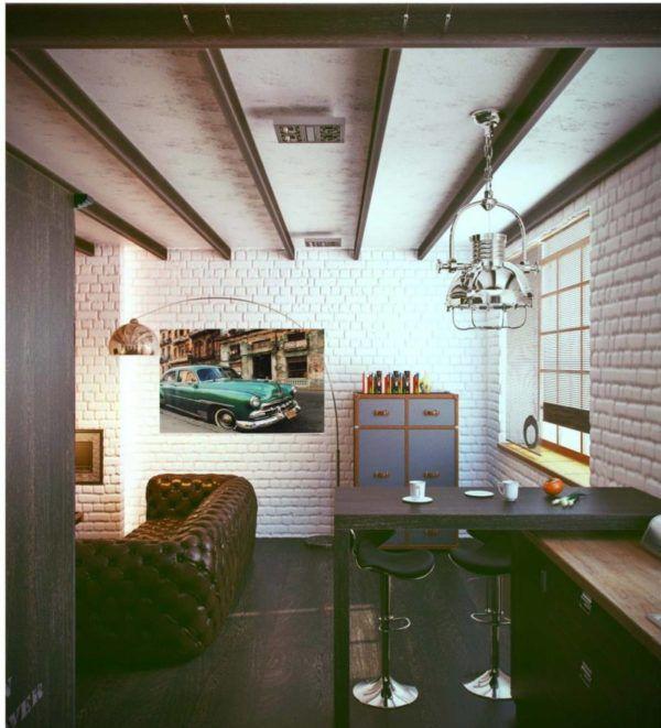 Менее используемый вариант потолков в стиле лофт - деревянные балки на покрытой грубой штукатуркой поверхности