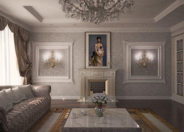 Молдинги используются для украшения потолка и декоративного камина