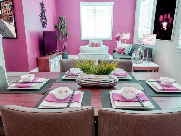 Необычная комбинация насыщенного розового и светло-серого