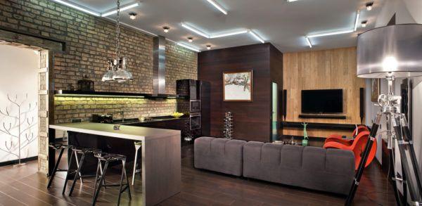 Оригинальный дизайн кухни-гостиной в стиле лофт