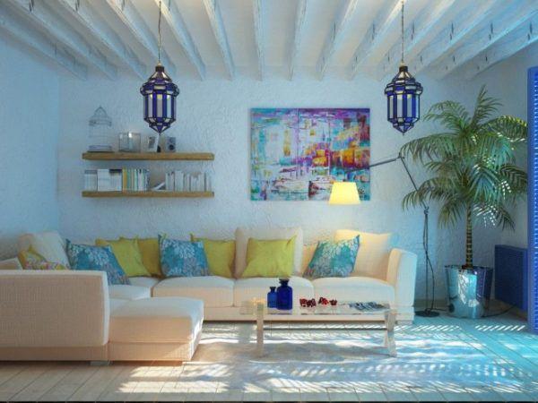 Оштукатуренные и окрашенные в белый цвет стены в гостиной