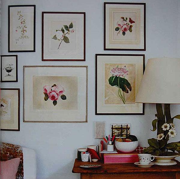 Панно в виде картин с изображениями цветов