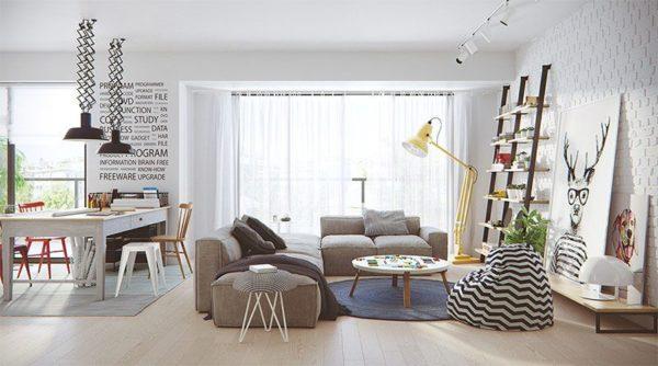 Панорамные окна в комнате - характерная особенность скандинавского стиля