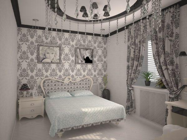 Подбор штор под вставки с рисунком на обоях