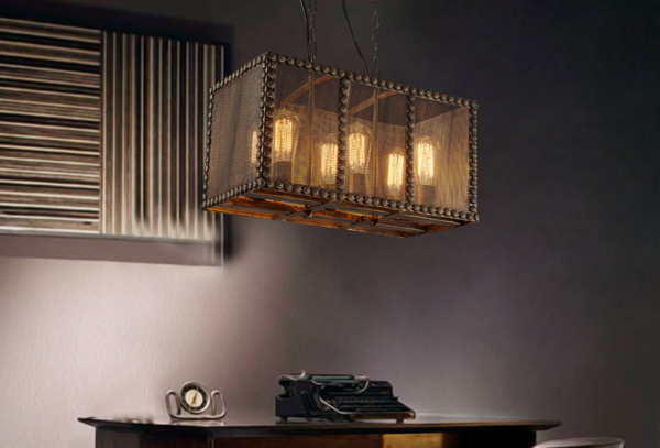 Подвесной потолочный светильник в металлическом коробе отлично освещает рабочую зону