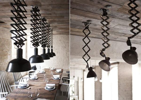 Подвесные металлические светильники с металлической пружиной