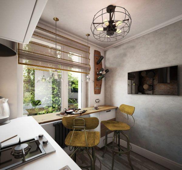 Покрашенные стены в светло-серый тон гармонично сочетается со светлыми оттенками интерьера кухни
