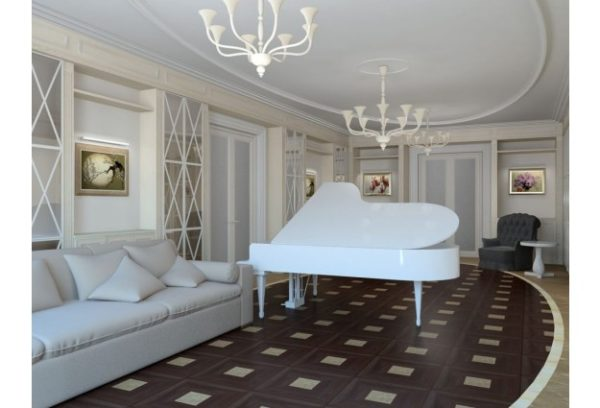 Покрытие пола в стиле Арт-деко выполняется из дорогих материалов дерева, цельного камня, мрамора, керамики