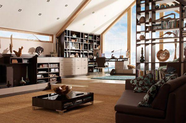 Пол разного уровня и текстуры хорошо справляется с задачей зонирования просторного, но многофункционального жилища