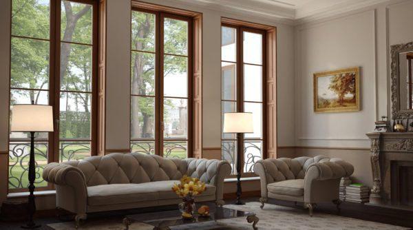 Помещение с высокими окнами становится более светлым и уютным