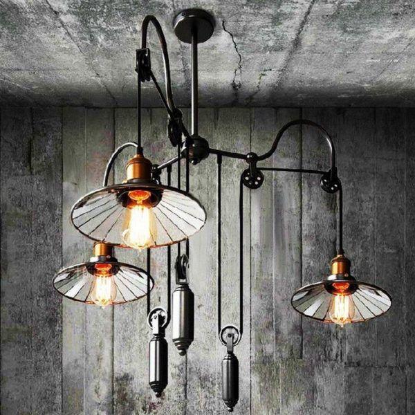 Потолочная подвесная люстра с использованием ламп накаливания Эдисона