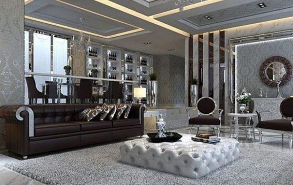 Применение зеркал и отражающих поверхностей характерная черта в интерьере комнаты стиля Арт-деко