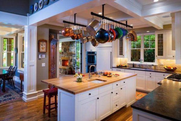 Применение на кухне подвесных элементов для посуды