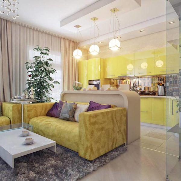 Применение разных вариантов освещения и осветительных приборов для разгруженности интерьера кухни и гостиной