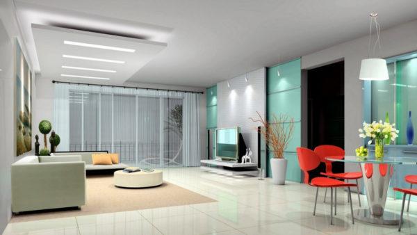 Разновидность освещения стиля Хай-тек в комнате