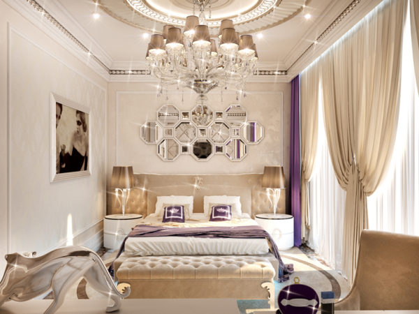 Роскошная люстра в сочетании со светодиодной подсветкой в интерьере спальни Арт-деко