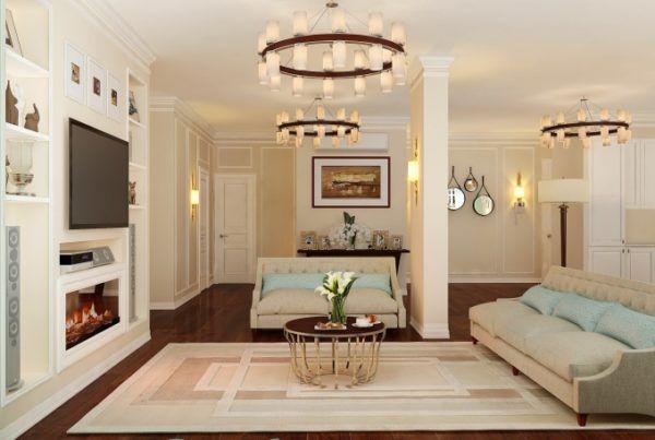 Светлая гостиная в американском стиле