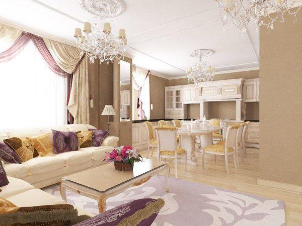 Светлая гостиная в классическом стиле с яркими элементами декора из текстиля
