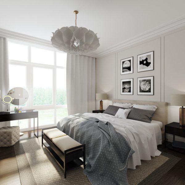 Светлая спальня загородного дома в американском стиле