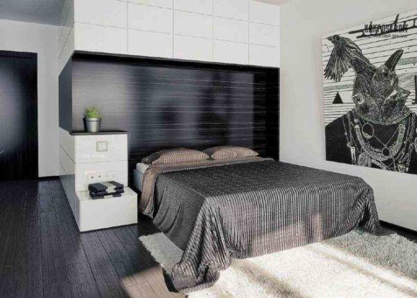 Черный и серый цвет в спальне: темные полы и вставки