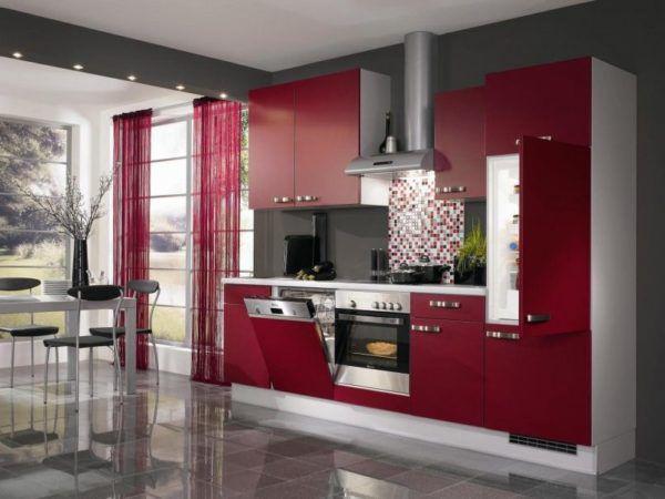 Серо-бордовая кухня – прекрасное дизайнерское решение