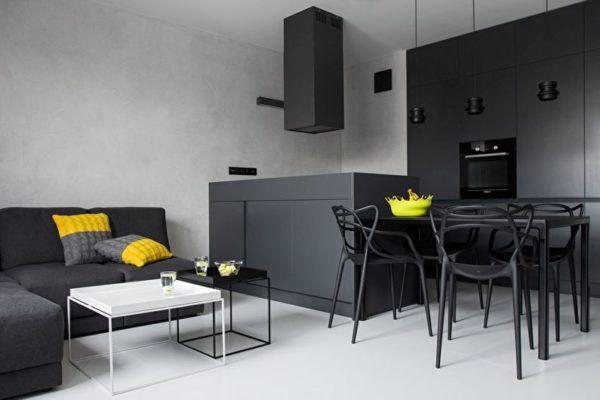 Серый разных оттенков с добавлением желтого на кухне