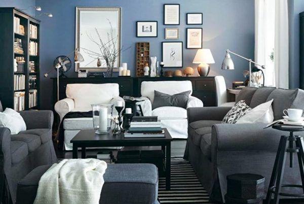 Синие стены и серая мебель – необычная дизайнерская идея