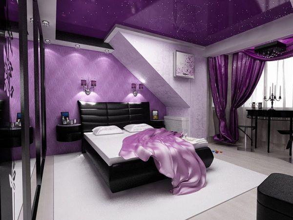 Сиреневый натяжной потолок в спальне