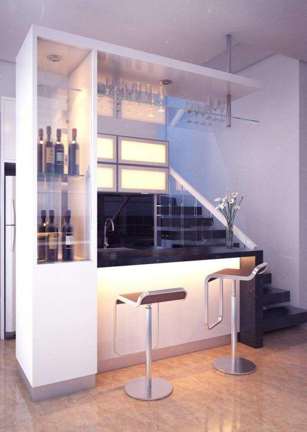 Скрытая светодиодная подсветка по типу барного помещения очень актуальна для владельцев барных стоек