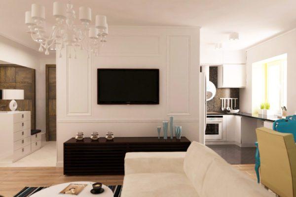 Совмещённая кухня с гостиной с перегородкой в светлых тонах