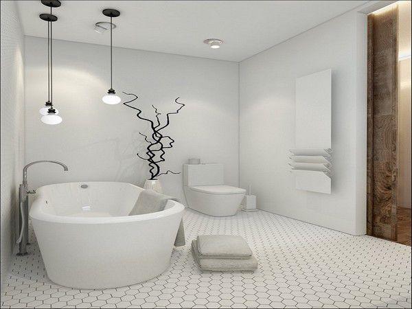 Сочетание белого и светло-серого оттенков в интерьере ванной