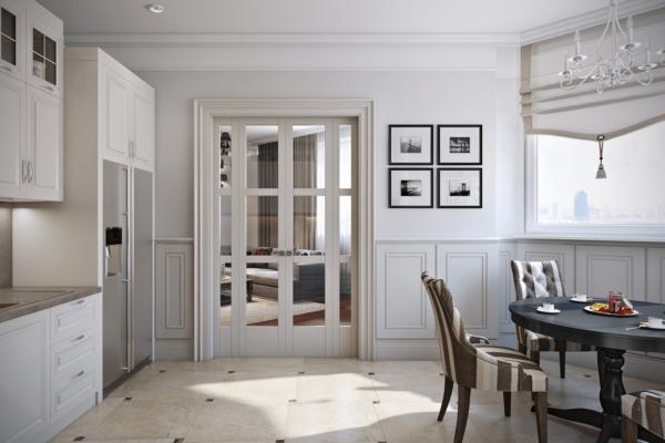 Сочетание белой двери с белой отделкой