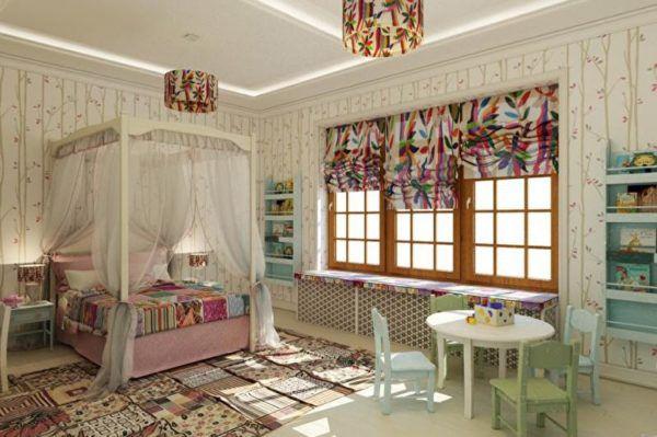 Сочетание оттенков оливкового, терракотового, розового в интерьере спальни