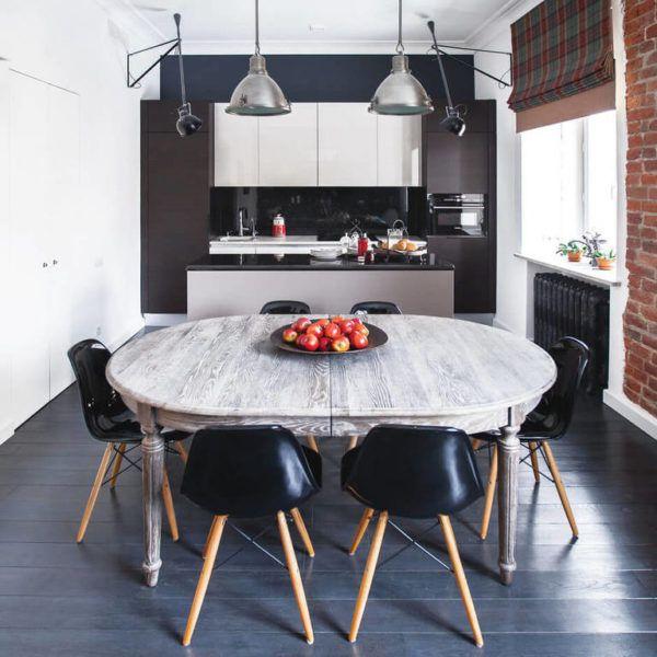Сочетание темных и светлых оттенков в интерьере кухни стиля лофт