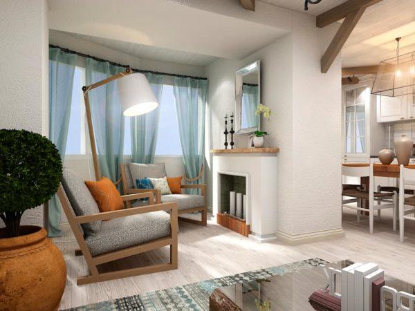 Средиземноморский стиль в гостиной совмещённой с кухней